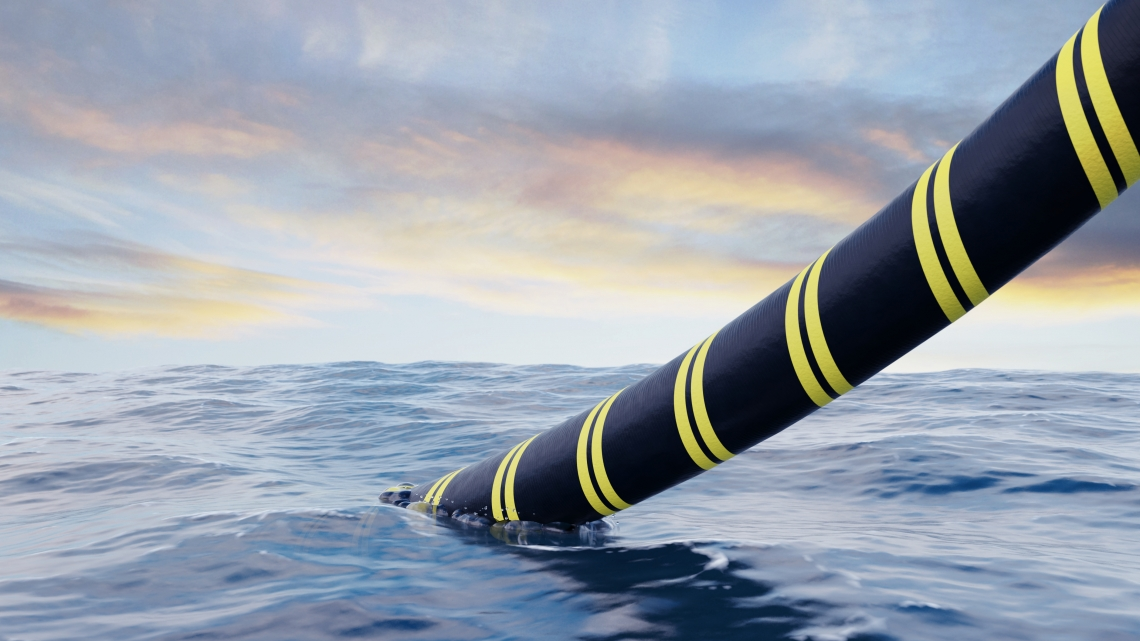 Submarine Cable being laid in the ocean