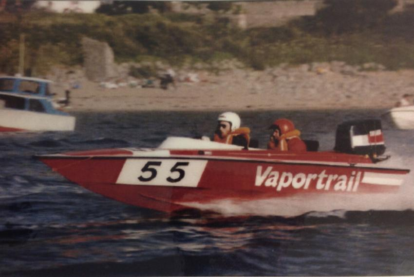 "The Vapormatt power boat ""Vaportrail"" during a race"