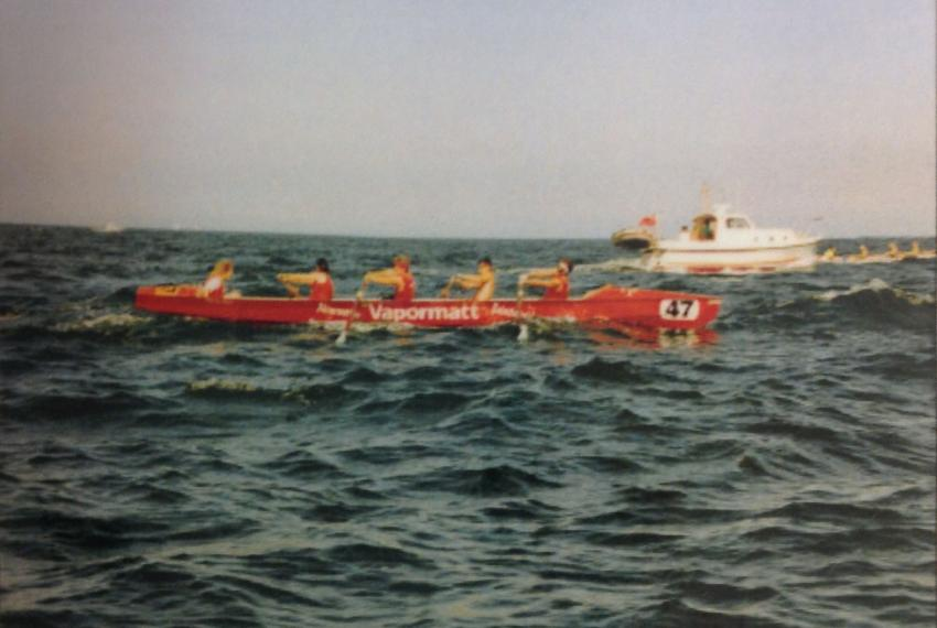 Based on Guernsey, the Vapormatt rowing team on a sea race